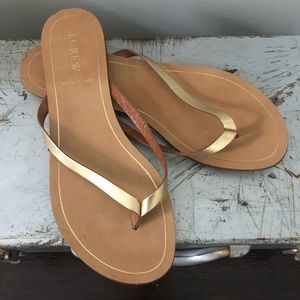 J.Crew Gold Leather Sandals